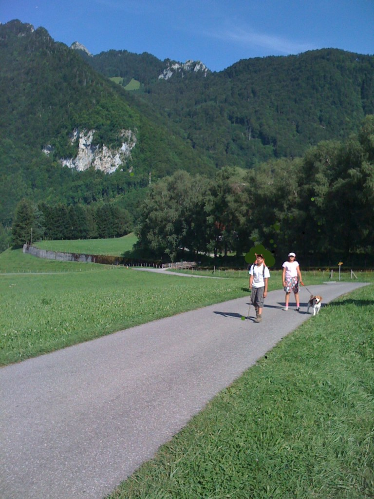 Dorothy, Toto and The Tin Boy on The Yellow Brick Road- Gruyeres Switzerland